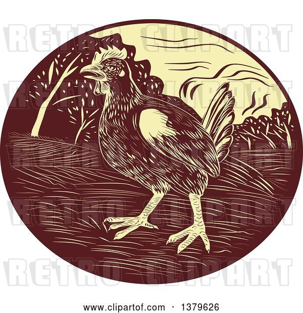 Vector Clip Art of Retro Woodcut Hen in a Brown and Yellow Oval