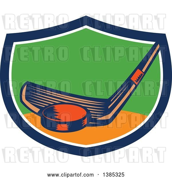 Vector Clip Art of Retro Woodcut Hockey Stick and Puck in ...