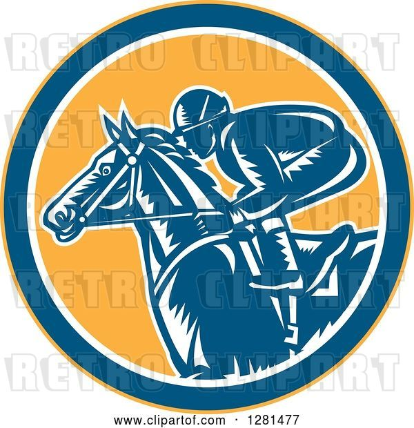 Vector Clip Art of Retro Woodcut Horse Racing Jockey in a Yellow Blue and White Circle