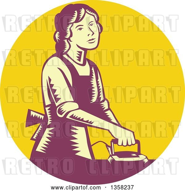 Vector Clip Art of Retro Woodcut House Wife or Maid Ironing Laundry in a Yellow and Purple Circle