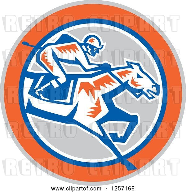 Vector Clip Art of Retro Woodcut Jockey Racing a Horse in a Gray Orange Blue and White Circle