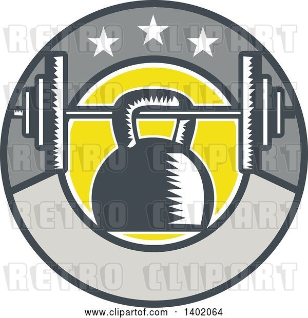 Vector Clip Art of Retro Woodcut Kettlebell Hanging on a Barbell in a Circle with Stars