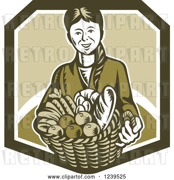 Vector Clip Art of Retro Woodcut Lady Holding a Basket of Harvest Foods and Bread