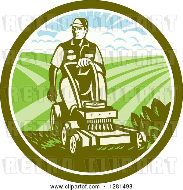 Vector Clip Art of Retro Woodcut Landscaper Mowing a Lawn with Farmland in a Green and White Circle