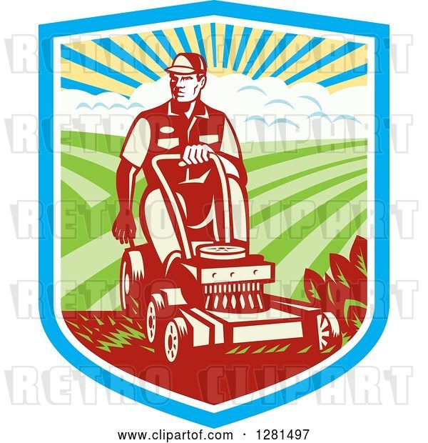 Vector Clip Art of Retro Woodcut Landscaper Mowing a Lawn with Farmland in a Shield