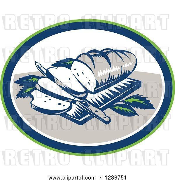 Vector Clip Art of Retro Woodcut Loaf of Bread with Slices and Knife on a Board in an Oval