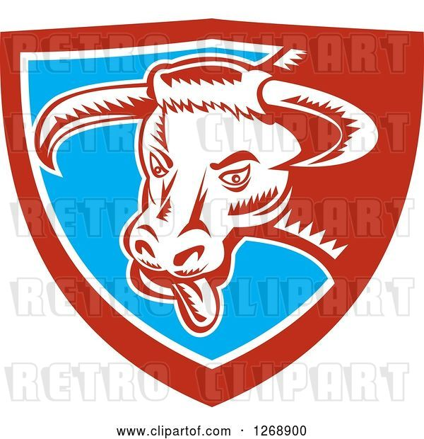Vector Clip Art of Retro Woodcut Longhorn Bull with Its Tongue Hanging out in a Red White and Blue Shield