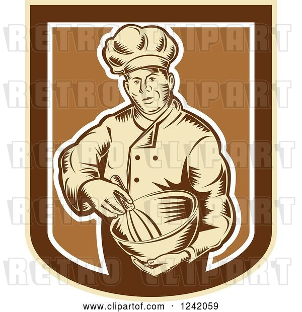 Vector Clip Art of Retro Woodcut Male Baker with a Mixing Bowl in a Crest