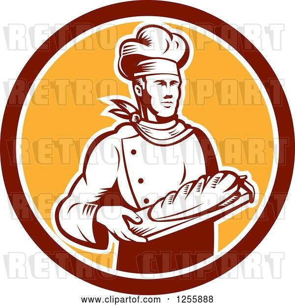 Vector Clip Art of Retro Woodcut Male Baker with Bread in a Circle