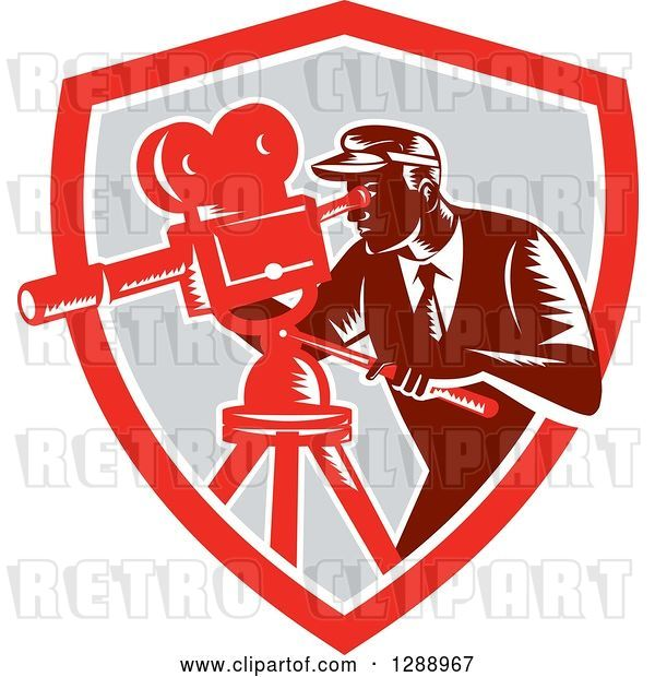 Vector Clip Art of Retro Woodcut Male Cameraman Working in a Red White and Gray Shield