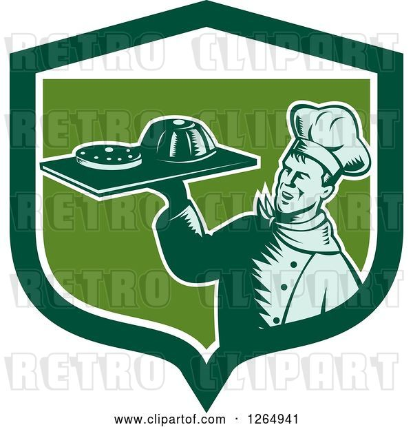 Vector Clip Art of Retro Woodcut Male Chef Holding Gelatin or Cake on a Platter in a Green and White Shield
