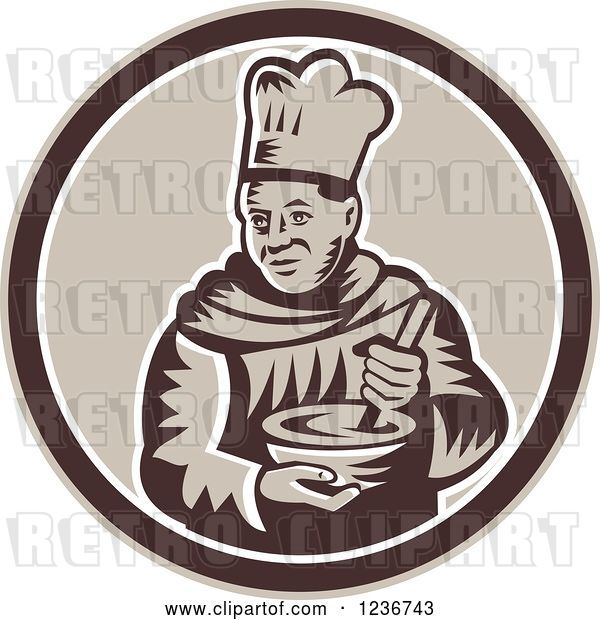 Vector Clip Art of Retro Woodcut Male Chef Mixing in a Circle