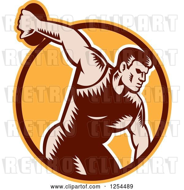 Vector Clip Art of Retro Woodcut Male Discus Thrower in an Orange and Brown Circle