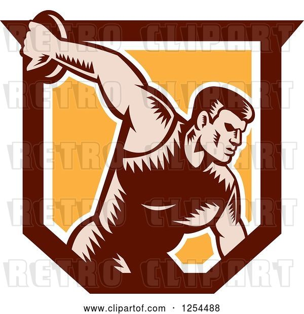 Vector Clip Art of Retro Woodcut Male Discus Thrower in an Orange and Brown Shield