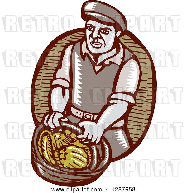 Vector Clip Art of Retro Woodcut Male Farmer Carring a Basket of Harvest Vegetables