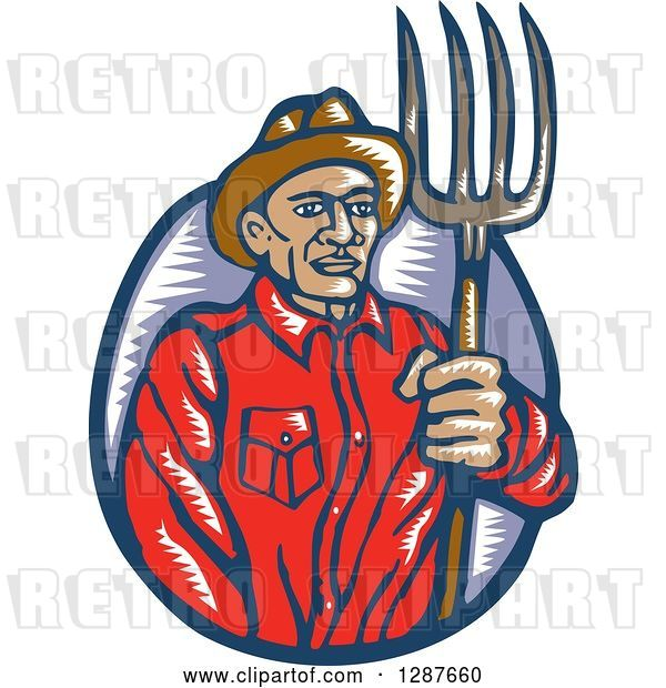 Vector Clip Art of Retro Woodcut Male Farmer Holding a Pitchfork