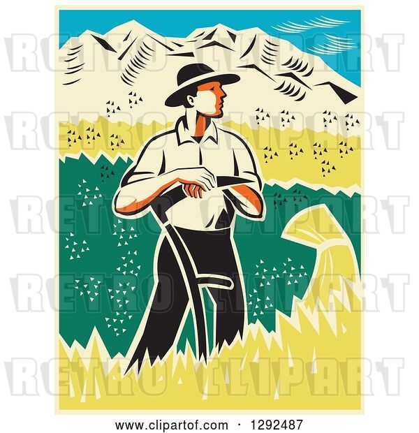 Vector Clip Art of Retro Woodcut Male Farmer Standing and Resting on a Scythe in a Wheat Crop