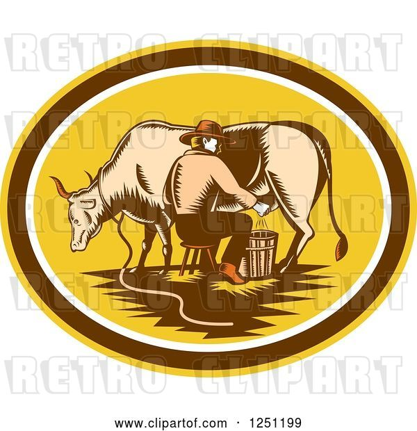 Vector Clip Art of Retro Woodcut Male Fermer Milking a Cow in a Yellow and Brown Oval
