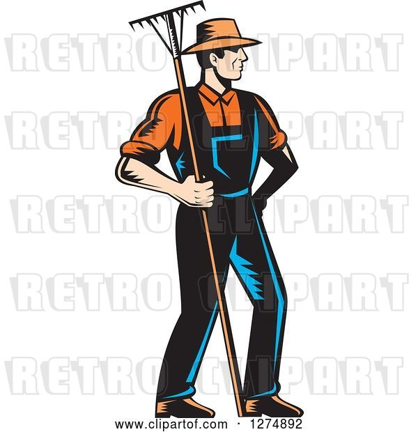 Vector Clip Art of Retro Woodcut Male Gardener or Farmer Holding a Rake