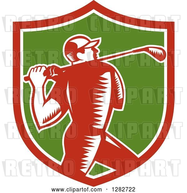 Vector Clip Art of Retro Woodcut Male Golfer Swinging a Club in a Red White and Green Shield