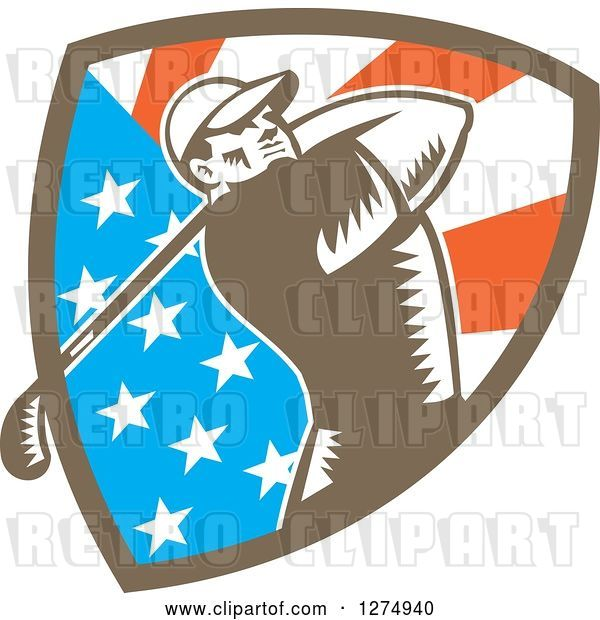 Vector Clip Art of Retro Woodcut Male Golfer Swinging in an American Flag Shield