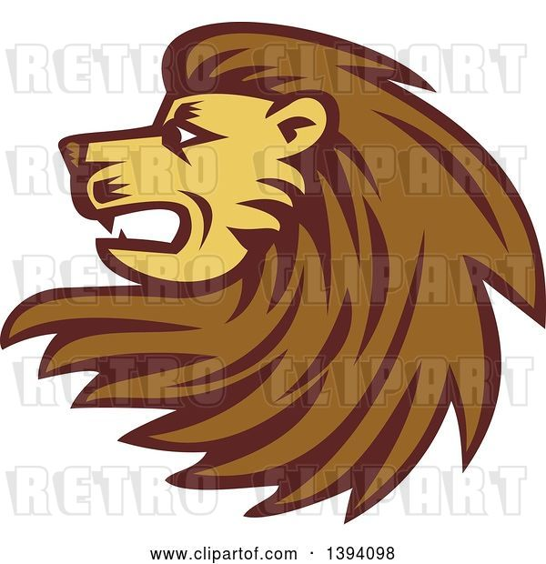 Vector Clip Art of Retro Woodcut Male Lion Head with a Long Mane