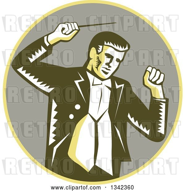Vector Clip Art of Retro Woodcut Male Music Conductor Holding a Baton in a Yellow and Taupe Circle