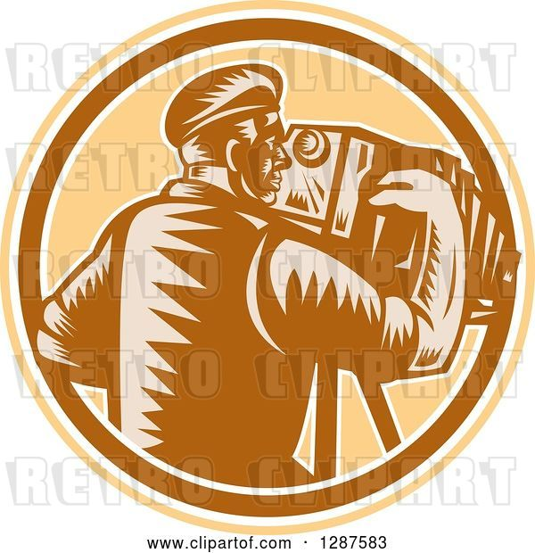 Vector Clip Art of Retro Woodcut Male Photographer Using a Bellows Camera in a Brown White and Tan Circle