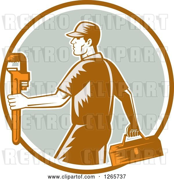 Vector Clip Art of Retro Woodcut Male Plumber Carrying a Monkey Wrench and Tool Box in a Brown White and Green Circle