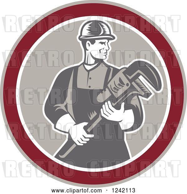 Vector Clip Art of Retro Woodcut Male Plumber Holding a Monkey Wrench in a Circle
