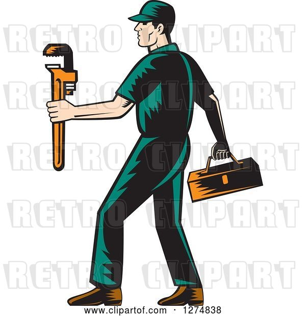 Vector Clip Art of Retro Woodcut Male Plumber Walking with a Tool Box and Monkey Wrench