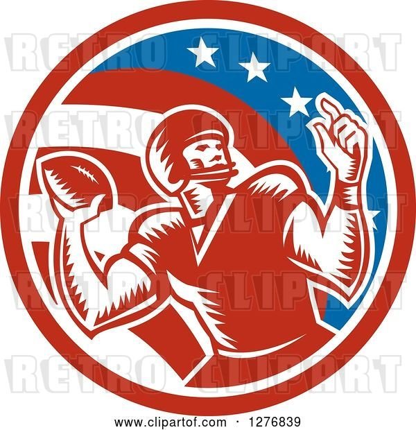 Vector Clip Art of Retro Woodcut Male Quarterback Player Throwing in an American Circle