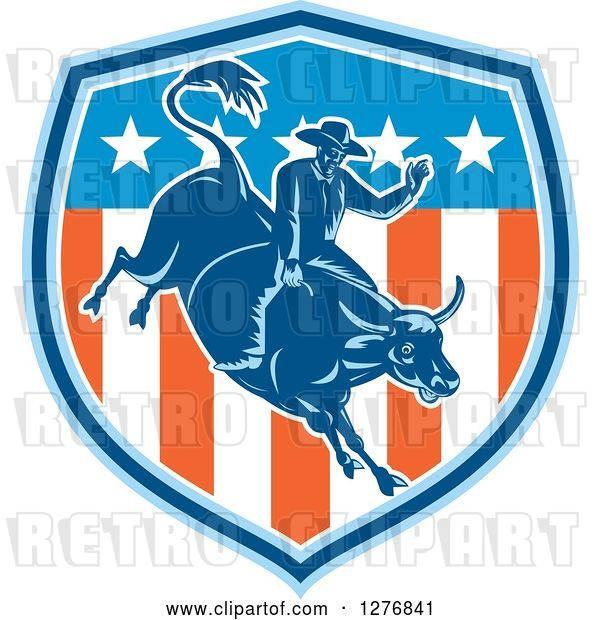 Vector Clip Art of Retro Woodcut Male Rodeo Cowboy on a Bucking Bull in an American Flag Shield