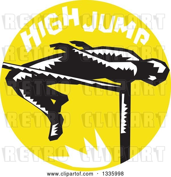 Vector Clip Art of Retro Woodcut Male Track and Field Athlete High Jumping, with Text in a Yellow Circle