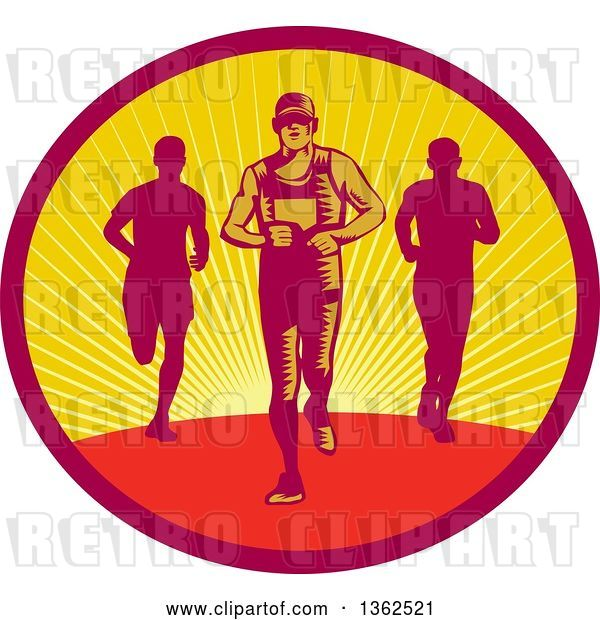 Vector Clip Art of Retro Woodcut Male Triathlete or Marathon Runners in a Sunset Oval