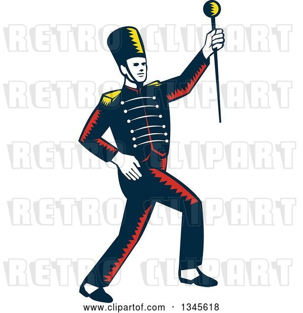 Vector Clip Art of Retro Woodcut Marching Band Drum Major Holding up a Baton