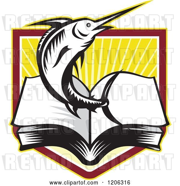 Vector Clip Art of Retro Woodcut Marlin Fish Leaping from an Open Book over a Ray Crest Shield