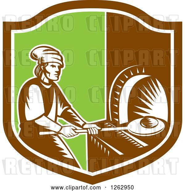 Vector Clip Art of Retro Woodcut Medieval Baker Putting Bread in a Stone Oven in a Brown White and Green Shield