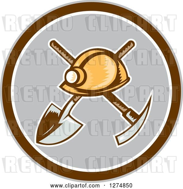 Vector Clip Art of Retro Woodcut Miner Hat over a Crossed Shovel and Pickaxe in a Brown White and Gray Circle