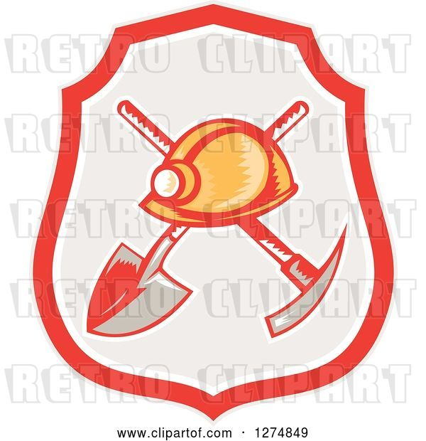 Vector Clip Art of Retro Woodcut Miner Hat over a Crossed Shovel and Pickaxe in a Shield