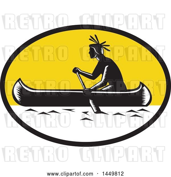 Vector Clip Art of Retro Woodcut Native American Indian Paddling a Canoe in a Yellow Oval Oval