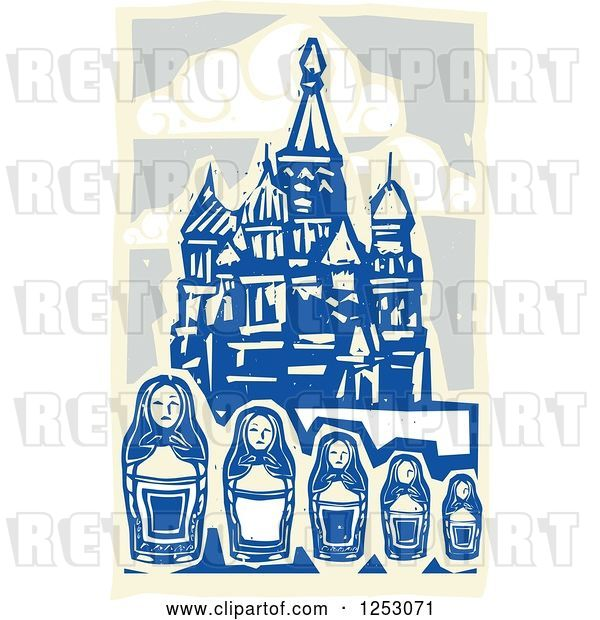 Vector Clip Art of Retro Woodcut of Nesting Dolls and Kremlin in Moscow