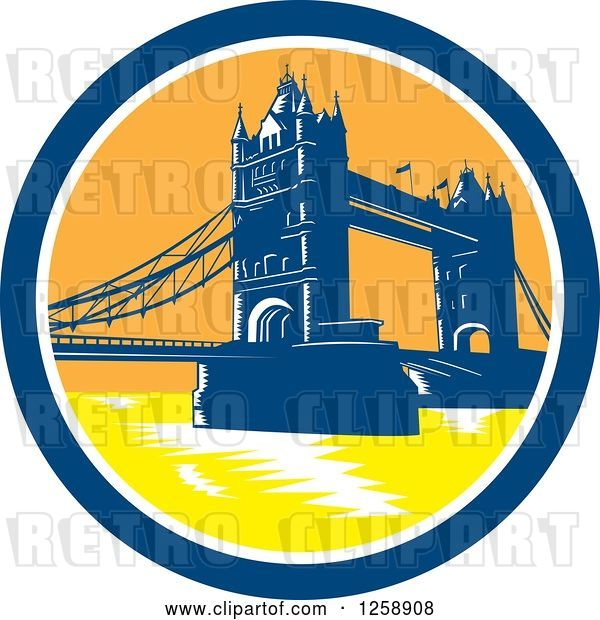 Vector Clip Art of Retro Woodcut of the London Tower Bridge in a Circle
