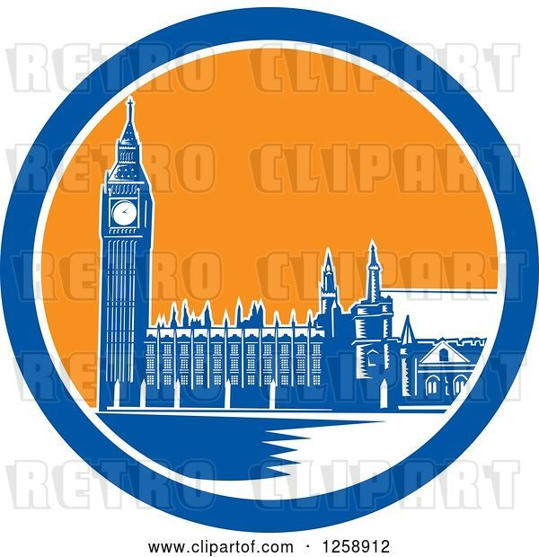 Vector Clip Art of Retro Woodcut of Westminster Palace in London, England with Big Ben in a Blue White and Orange Circle