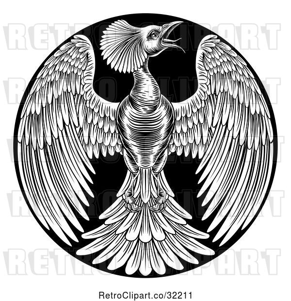 Vector Clip Art of Retro Woodcut or Engraved Phoenix Firebird in a Circle