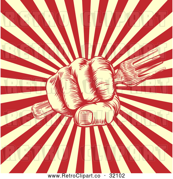 Vector Clip Art of Retro Woodcut or Fisted Hand Holding a Fork over Beige and Red Rays