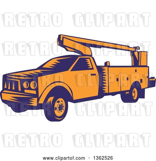 Vector Clip Art of Retro Woodcut Orange and Blue Cherry Picker Lift Truck