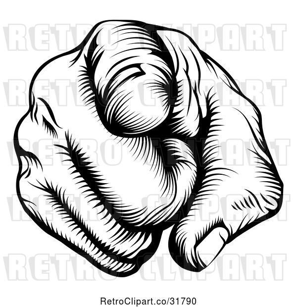 Vector Clip Art of Retro Woodcut Outward Pointing Hand