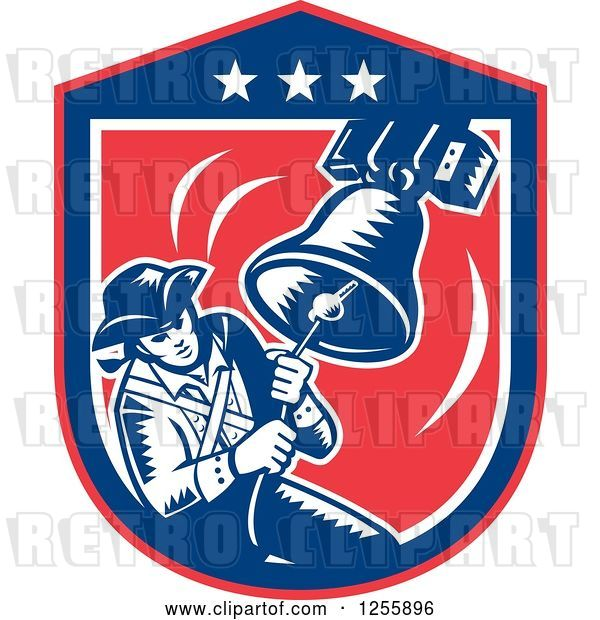 Vector Clip Art of Retro Woodcut Patriot Ringing a Liberty Bell in an American Shield