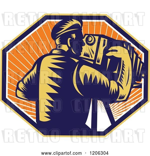 Vector Clip Art of Retro Woodcut Photographer Using a Bellows Camera in an Octagon of Sunshine
